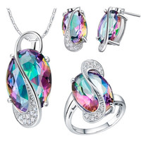 60% off 2014 Oval Wedding Jewelry Sets for Brides Stud Earrings Ring Necklace Set Crystal Jewelry 925 Sterling Silver Ulove T155