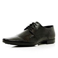 River Island MensBlack leather pointed shoes