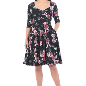 Floral print cotton knit sweetheart empire dress
