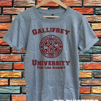 gallifrey university shirt doctor who DR who shirts tshirt t-shirt sport grey printed unisex size (DL-74)