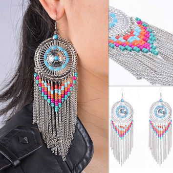 Punk Exaggerated Totem Pattern Handmade Beaded Earrings
