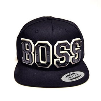 SwaggWood Adults BOSS - Black Acrylic Letters on Black Snapback Hat
