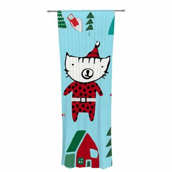 "bruxamagica ""Cute Santa Cat Blue"" Blue Red Animals Holiday Illustration Decorative Sheer Curtain"
