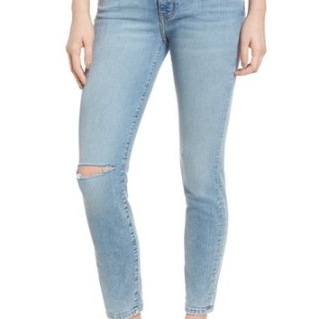 Current/Elliott The High Waist Stiletto Ankle Skinny Jeans (Seville Knee Slit Destroyed) | Nordstrom
