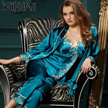 2016 Spring Womens Lace Silk Stain  Pajamas Sets Pyjamas PJS Sleepwear Bridesmaid Robes Plus Size
