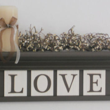 "Love Wooden Sign - Personalized Family Name Signs 24"" Shelf with 4 Wooden Letter Tiles Painted Chocolate Brown Customized LOVE"