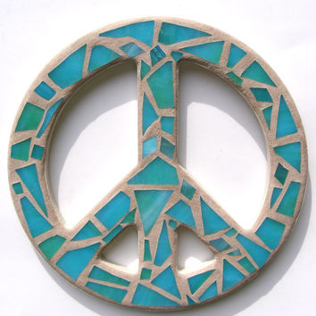 Aqua Teal Blue Mosaic Stained Glass Peace Sign Mosaic Art Peace Sign Wall Art Peace Sign Wall Decor  Hippie Decor  60's  Era Retro Peace Art