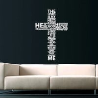 Cross Jesus Christ Wall Decal Religion Prayer Writing Decals Wall Vinyl Sticker God John Psalm Quote Interior Home Decor Art Bedroom SV5867