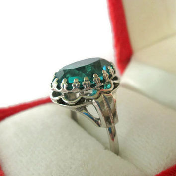Glamorous Vintage Statement Cocktail Ring by Danecraft, Sterling Silver Aqua, Teal, Quartz, Runway, Show Stopper