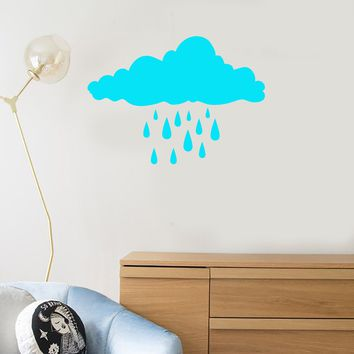 Vinyl Wall Decal Clouds Raindrops Creative Room Decoration Art Stickers Mural (ig5352)