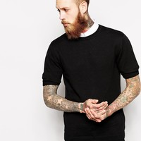 ASOS Knitted T-Shirt in Cotton - Black