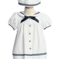 3 Pc Classic Sailor Dress w Bloomers & Dixie Cup Style Sailor Hat White Gabardine (Baby Girls)