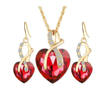 Heart Rhinestone Crystal Earrings Pendant Necklace Jewelry Sets for Women Valentine's Day Gift