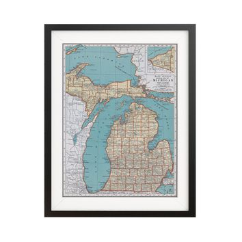 Michigan Vintage Map Poster - 18 by 24 inch Vintage Map Print