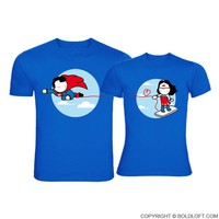 Made for Loving You™ His & Hers Matching Couple Shirts Blue