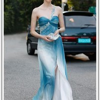 Blue One Shoulder Sleeveless Formal Dress  55668 from locascio