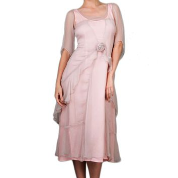 Nataya 10709 Women's 1920s Vintage Style Great Gatsby Dress in Rose