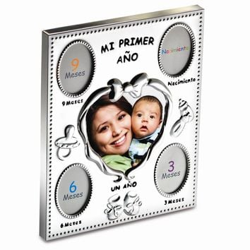 Silver Plated Mi Primer Ano Spanish Baby Photo Frame