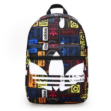 ADIDAS Middle school student leisure printing college wind student travel backpack junior high - capacity double shoulder bag