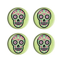 Day of the Dead Skull Green and Peach Halftone Style - Set of 3D Stickers
