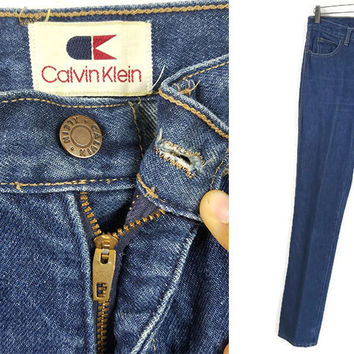 70's Vintage Calvin Klein High Waisted Jeans Dark Denim