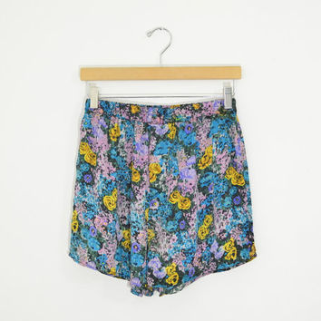 Vintage 90s Pretty Floral Print Silk Lingerie Shorts High Waisted Fit Flowy Lightweight Soft Size Womens Medium