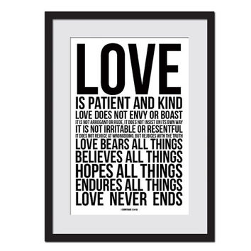 Love is Patient Love is Kind Art Print - Ist Corinthians 13 - Scripture Poster - Poetry Print - Scripture Art Print - Christian Bible Verse