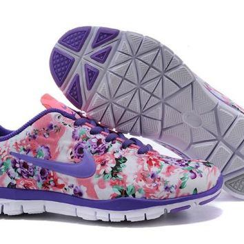 Women's Nike Free TR FIT 3 Flower Print Training Shoes Pink/Purple