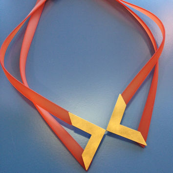 PETRA MIEREN Orange Silicone Necklace with Brass