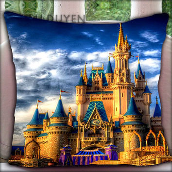 Disney Castle - Pillow Cover Pillow Case and Decorated Pillow.