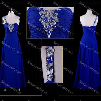 Crown blue chiffon one shoulder with crystal beads evening dress for 2014