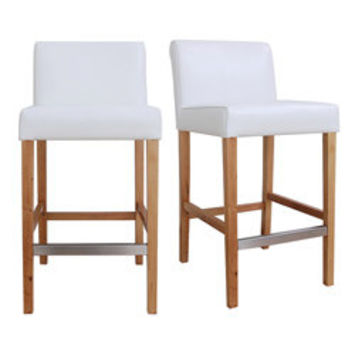 Cosmopolitan Modern White Leather Counter Stools (Set of 2) | Overstock.com