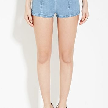 Flat-Front Denim Shorts