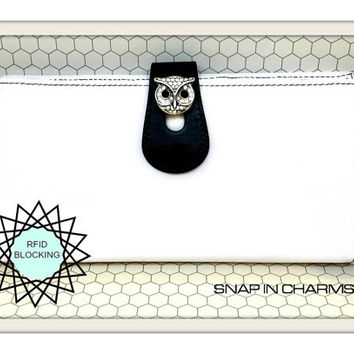 White woman's wallet, Leather white woman's wallet, Woman's white wallet, IPhone 6 wallet, snap button owl woman's wallet, RFID wallet