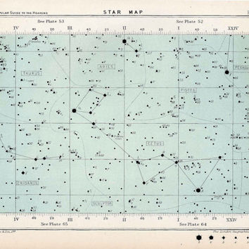 1904 star map 58 original antique celestial astronomy star print