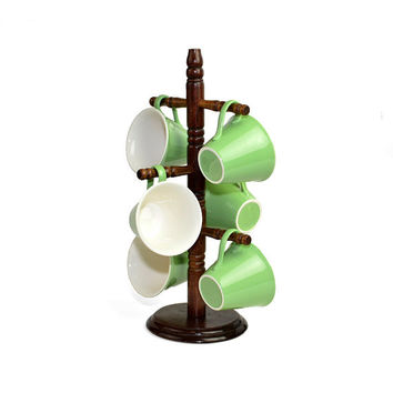 Green Coffee Cups on Retro Tree - Pastel Mint Color Ceramic Cups (6), Rustic Natural Wooden Storage Stand - Vintage Retro Home Kitchen