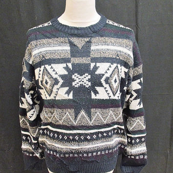 Vintage 80s Blue White Nordic Style Indie Sweater Jumper Small