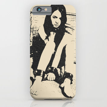 Broken Innocence - bondage fantasy, hot erotic pop art illustration sexy naked girl abstract bondage iPhone & iPod Case by Peter Reiss