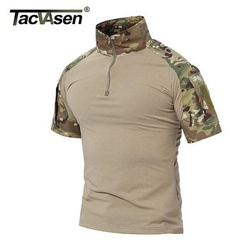TACVASEN Men Summer Brand Clothing 2017 New Mens Tactical T Shirt Short Army Military Camouflage T-Shirts Cotton Top Tee Shirts