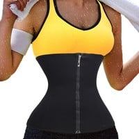 Zipper Waist Trainer Long Torso Body Shaper Waist Cincher Slimming Belt Corsets Workout Fitness Belt Tummy Fat Burner Girdle