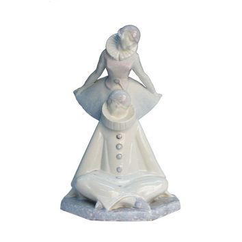 Beautiful Porcelain Pierrot Statue by Pierre Le Faguay