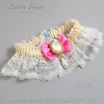 Ivory and Pink Wedding Garter Lace Bridal Garter 871 Ivory - 142 Persian Pink Prom Garter Plus Size & Queen Size Garter