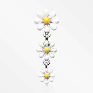 Adorable Spring Daisy Flowers Reverse Belly Button Ring