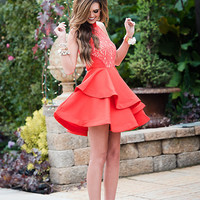 A-Line Ruffle Lace Beauty Dress