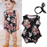 Cute Baby Girls Floral Romper &Headband Clothes Set