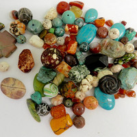 Assorted Mixed Lot Beads  Loose  Magnesite Destash Stones