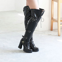 Sexy Professional design Lace up Over the Knee High Boots Hoof High Heel Platform Shoes 2016 Brand Winter autumn high heel Boots