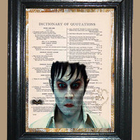 Johnny Depp Vampire - Vintage Dictionary Page Book Art Print Upcycled Page Art Mixed Media Art Depp Print