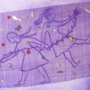 hand-pulled print with collage elements and milagro charms Girls purple OOAK original Sisters