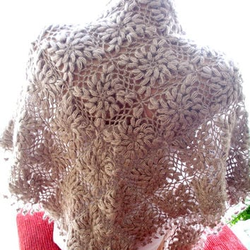 Crochet wedding bridal  light coffee ,Triangle Shawl  silvery mohair flowered shawl